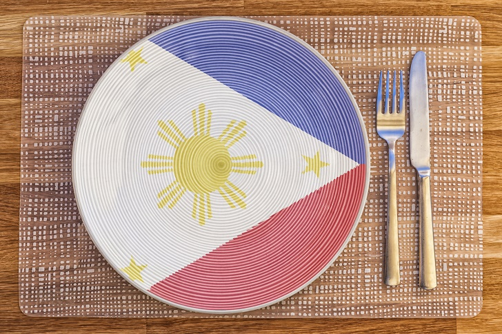 Dinner plate with the flag of Philippines on it for your international food and drink concepts.